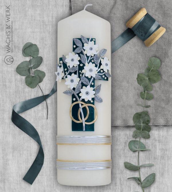 Hochzeitskerze mit Kreuz und Blumenranke