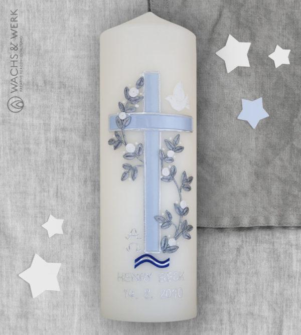 Taufkerze Kreuz Taube blau
