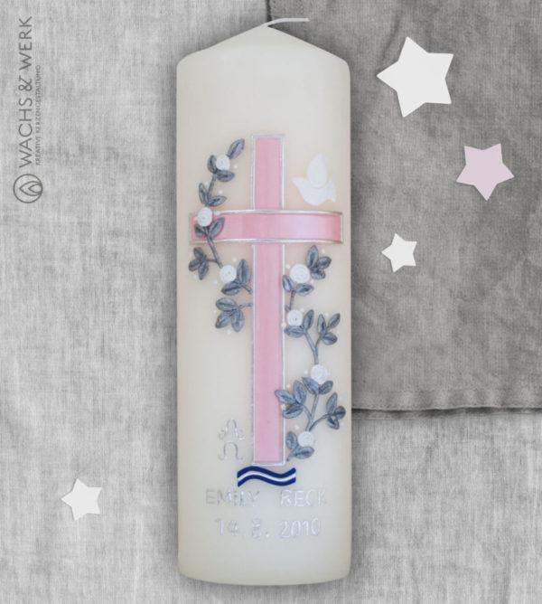 Taufkerze Kreuz Taube rosa