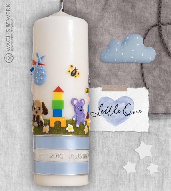 Kerze zur Geburt mit Storch und Spielzeug