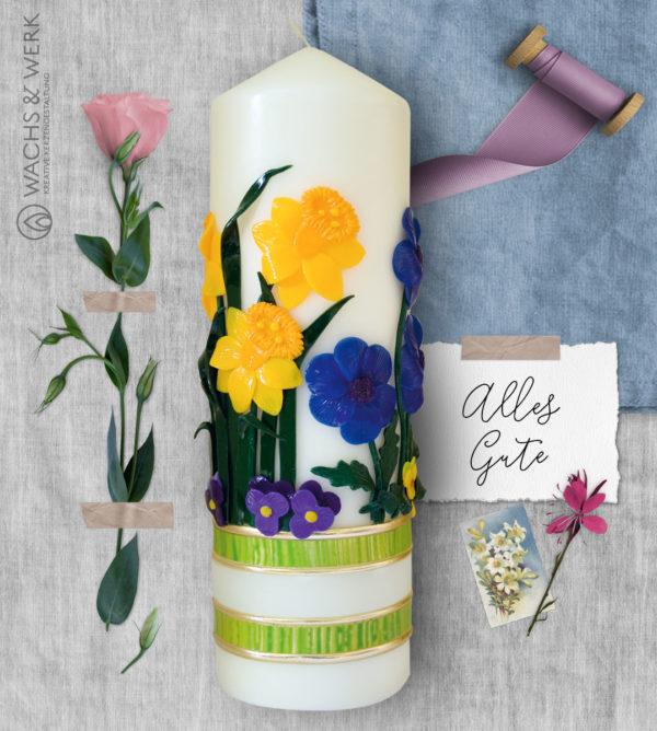 Geburtstagskerze mit Frühlingsblumen