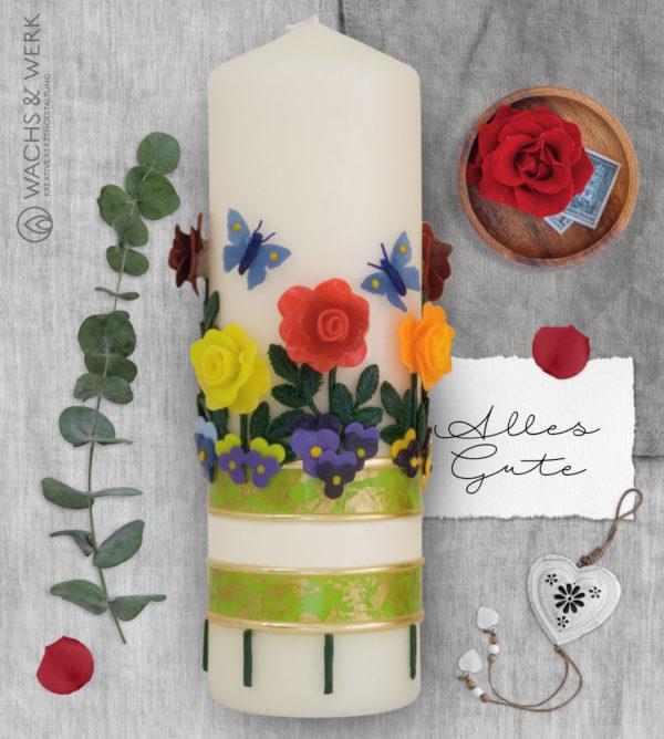 Geburtstagskerze mit Rosen und Schmetterlingen