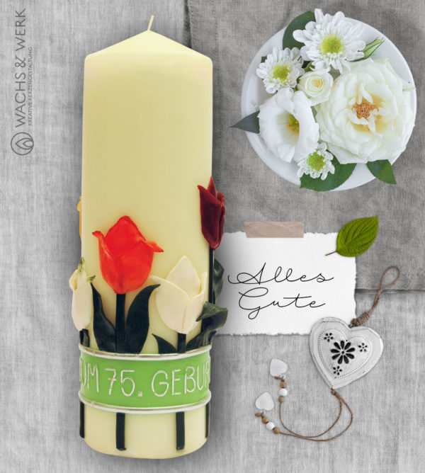 Geburtstagskerze mit Tulpen