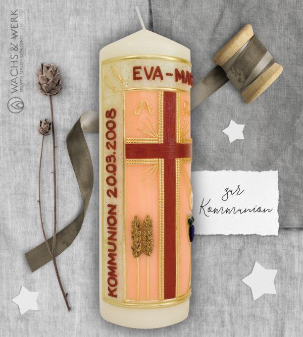 Kerze zur Kommunion mit Kreuz und Ähren