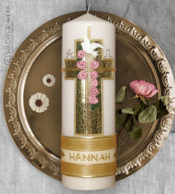 Taufkerze Kreuz Rosen in gold und grün