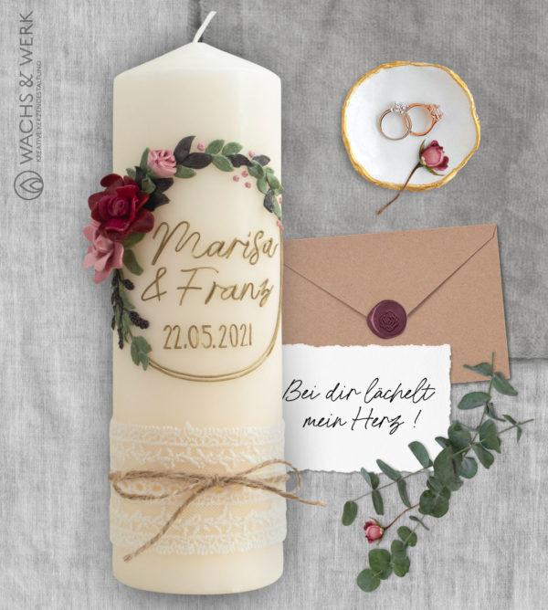 Hochzeitskerze Rosenranke Vintage